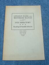 1958 LINCOLN PARK MONTROSE MANOR TELEPHONE DIRECTORY READING PA.