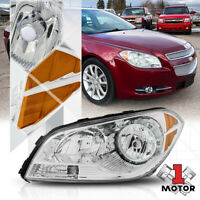 Left LH Driver Side Chrome Headlight Head Lamp Assembly for 08-12 Chevy Malibu