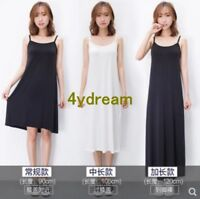 Ladys Mid Long Full Slips Modal Cotton Camisole Under Dress Underdress Petticoat