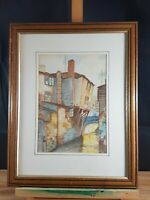 CONTINENTAL TOWN CANAL SCENE WATERCOLOUR UNSIGNED