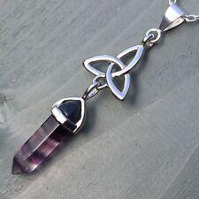 SILVER Plated FLUORITE Point & Tibetan Silver Argento Ciondolo Celtico-Wiccan