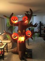 7ft Airblown Inflatable Halloween Scary Tree w/Pumpkins Gemmy #2801682 Used