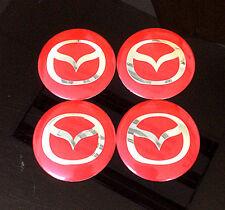 Wheel 56mm Center Cap Sticker Red Set 4pcs Mazda Motors