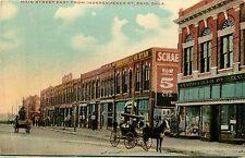 Oklahoma, Ok, Enid, Main Street E fr Independence St Early Postcard