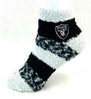 For Bare Feet Oakland Raiders RMC Striped Fuzzy Socks Gray Top Stripe