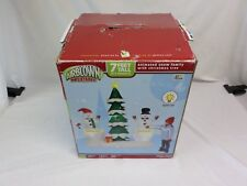 Gemmy Airblown Inflatable 7-Feet Tall Animated Snowman Family w/ Christmas Tree