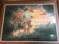 "Large Pat 1977 ""Cowboy And Horse Scene"" Watercolor Painting- Signed And Framed"