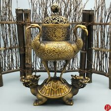 Chinese Brass Carving Decoration Longevity Crane Dragon Turtle Incense burner