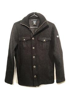 KUHL Mens Black Merino Wool Full-Zip Sweater Jacket Size L Button Accent Pockets
