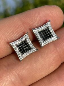 Mens Real 925 Solid Sterling Silver Iced Kite Square Black Diamond Earrings Stud