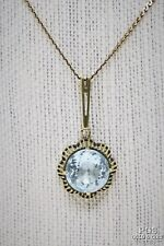 9.71 Aquamarine Pendant 14k Yellow Gold Chain Necklace Vintage 17687