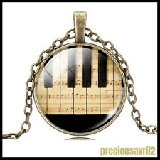Necklace - Piano Keyboard/Glass Cabochon/Chain /Pendant/Musical/Gift/New