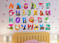 Education Animal Alphabet ABC Kids Wall Art Decals Sticker Nursery Baby Room