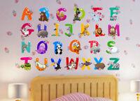 Education Animal Alphabet ABC Kids Wall Art Decals Sticker Nursery Baby Room