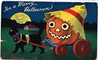 Antique Halloween Post Card-Black Cat Pulling Pumpkin 1909 Valentine Publishing