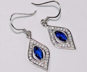 1CT Blue Sapphire & White Topaz 925 Solid Sterling Silver Earrings Jewelry