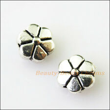 20Pcs Antiqued Silver Tone Flower Pumpkin Spacer Beads Charms 7mm