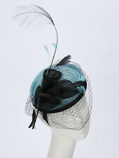 EXQUISITE HANDMADE AQUA & BLACK SINAMAY FASCINATOR WITH  FLOWERS & FEATHERS