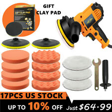 "5"" 110V Rotary Car Polisher Buffer Sander Polishing Machine Sponge Pads Wax Kit"
