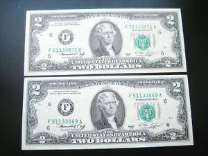 (2)$2 1976 ((ATLANTA))FEDERAL RESERVE NOTE CHOICE UNC GEM BU NOTE