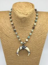 Fashion Amazonite Stones Rosary Chain Horn Pendant choker Necklace Woman Jewelry