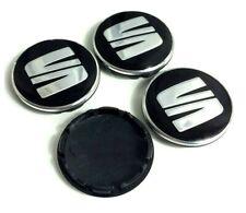 4Pcs/Set Black 56 mm Seat Ibiza Leon Logo Emblem Wheel Centre Caps Cover