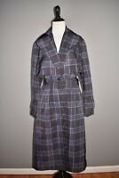 VINCE NEW $675 Plaid Belted Trench Coat in Marine Blue Small