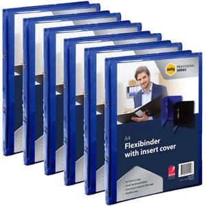 NEW 6x Marbig Flexibinder 2 Ring Binder 20mm A4 Clear Cover Blue Folders BULK