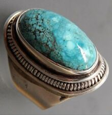 Antique Silver Natural Turquoise Gemstone Wedding Engagement Ring size 7