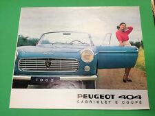 Peugeot 404 cabriolet coupè cabrio brochure depliant auto advertisement 1962