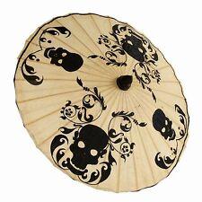 Brand New Skulls and Scrolls Black on Natural Paper Parasol Umbrella Goth Retro