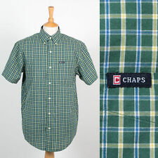 MENS RALPH LAUREN CHAPS EASY CARE GREEN CHECK PATTERN SHORT SLEEVE SHIRT S