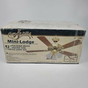"Vintage Sears Aloha 42 inch Antique Brass Ceiling Fan NOS 42"" 11205 Mini-Lodge"