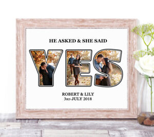 Personalised She Said Yes Photo Collage Word Art Print Engagement Gift Valentine