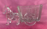Vintage Glass Trnket Dish Horse Pulling a Wagon