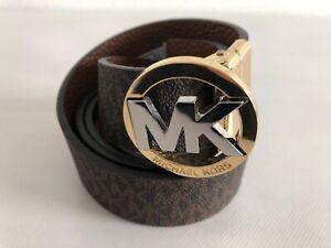 New Michael Kors Tan and Gold Logo Belt - Medium
