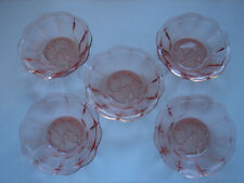 5 antike Dessertschälchen, rosa Pressglas, original Art Deko, 11,5cm