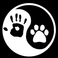 2 Aufkleber Ying yang Pfote Hand Hund Kopf Sticker Decal jdm tuning 13 Cm black