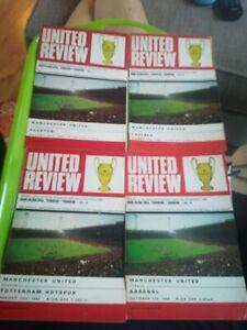 4 x Man Utd 1968-69 LD1 football programmes. V Everton, Chelsea, spurs , arsenal