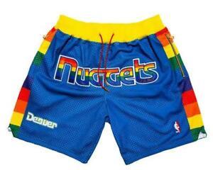New Denver Nuggets Rainbow Blue Retro Men Basketball Shorts Size:S-XXL