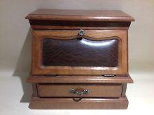 Ancienne boite à bijoux secrétaire en bois ,Metal et simili cuir