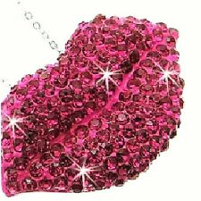 Micro Pave PINK FUSCHIA Cz Crystal LIPS Chain Link Ladies Love LONG Necklace