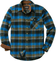 CQR Men's Cotton Flannel Shirt, Long Sleeve Plaid Shirt, Brushed Outdoor Shirts
