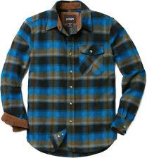 CQR Men's Cotton Flannel Shirt, Long Sleeve Plaid Shirt, Brushed Outdoor Shirts