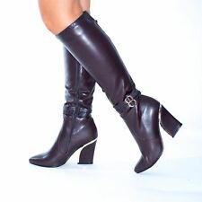 New Ladies Womens Knee High Winter Long Boots Mid Chunky Block Heel Shose Size 4