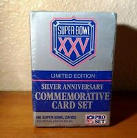 NFL Super Bowl XXV 25 Limited Edition Silver Anniversary 160 Pro Set Cards