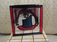 Vintage Christmas Stained Glass Effect Tealight candle holder boxed