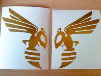 "6"" hornet hornets wings tank left,right helmet,motor bike,van,vinyl stickers fun"