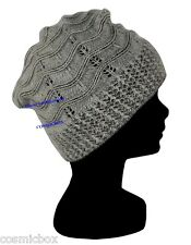 BONNET angora femme hiver gris et noir TAILLE UNIQUE chaud women black grey hat