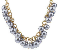 """Kenneth Jay Lane's Fashion Show Gray Bead 32"""" Goldtone Necklace QVC"""